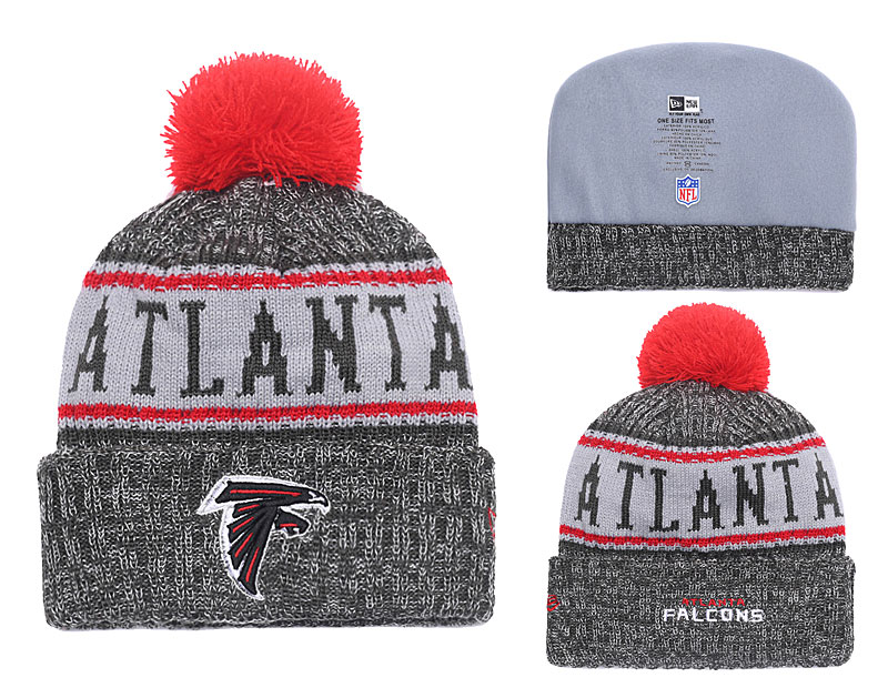 Falcons Black 2018 NFL Sideline Pom Knit Hat YD