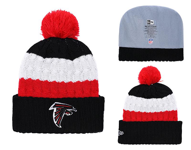Falcons Fresh Logo Black Red Cuffed Knit Hat With Pom YD