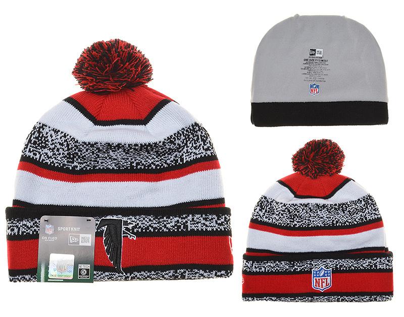 Falcons Fresh Logo Black Red Cuffed Pom Knit Hat YD