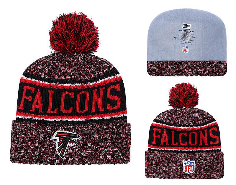 Falcons Fresh Logo Red Pom Knit Hat YD