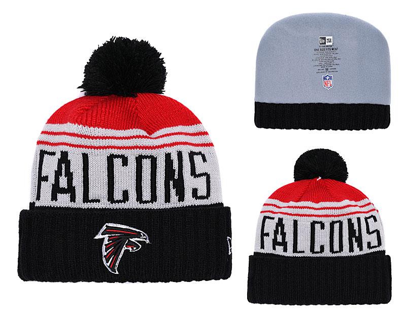 Falcons Team Logo Black White Red Cuffed Pom Knit Hat YD