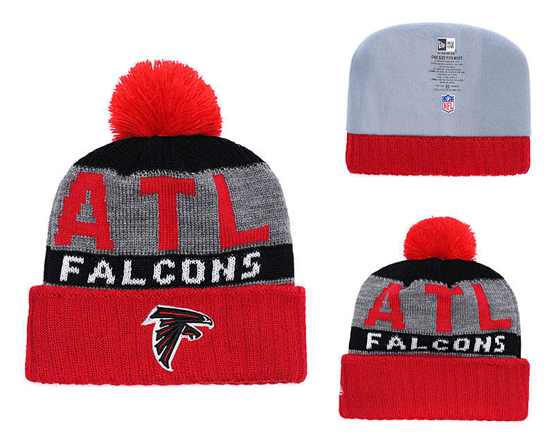 Falcons Team Logo Red Gray Cuffed Knit Hat With Pom YD