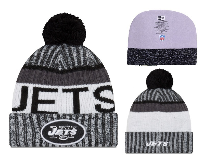 Jets Black White 2017 NFL Sideline Pom Knit Hat YD