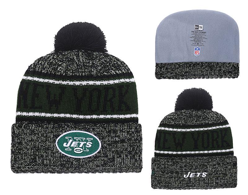 Jets Fresh Logo Green Pom Knit Hat YD