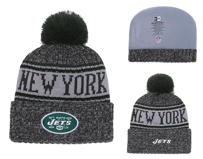 Jets Graphite 2018 NFL Sideline Pom Knit Hat YD