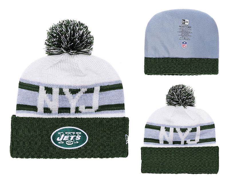 Jets Retro Logo Green Cuffed Pom Knit Hat YD