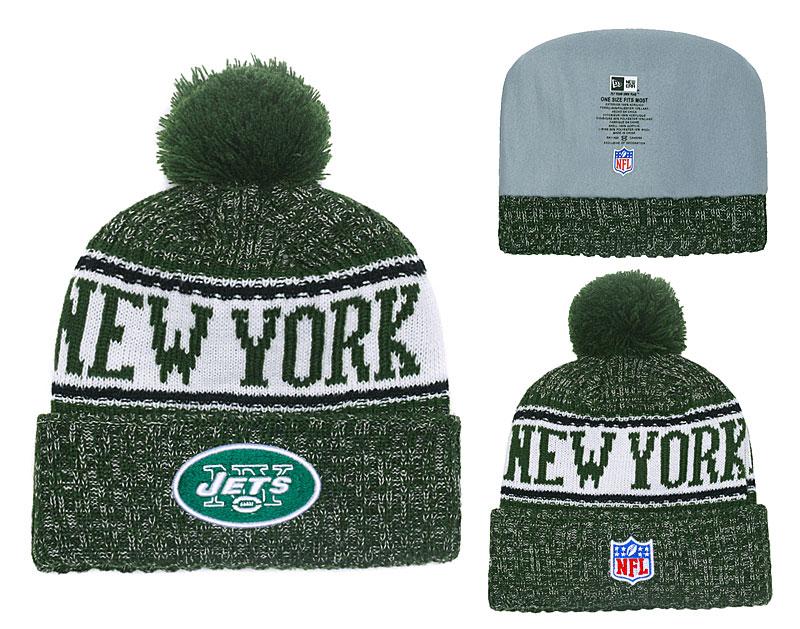 Jets Team Logo Green Cuffed Pom Knit Hat YD