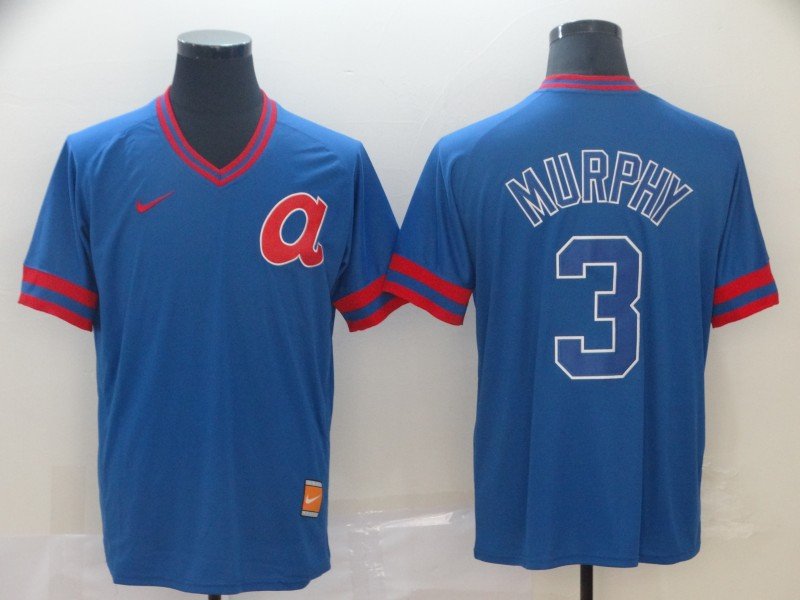 Braves 3 Dale Murphy Royal Throwback Jersey