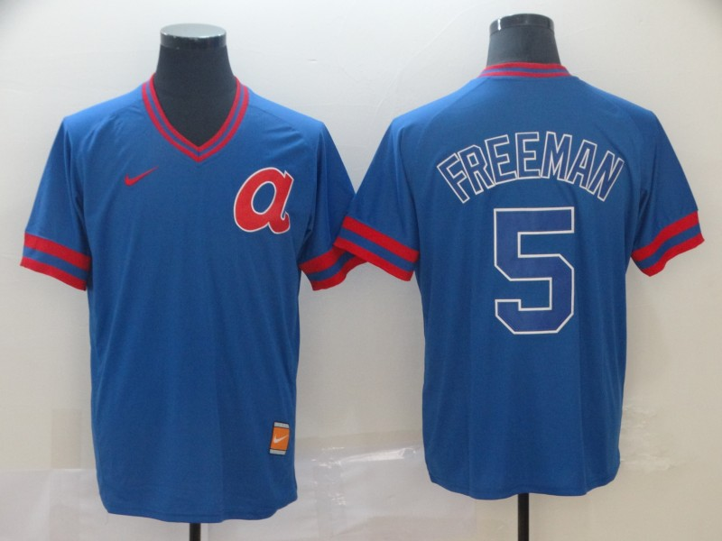 Braves 5 Freddie Freeman Blue Throwback Jersey