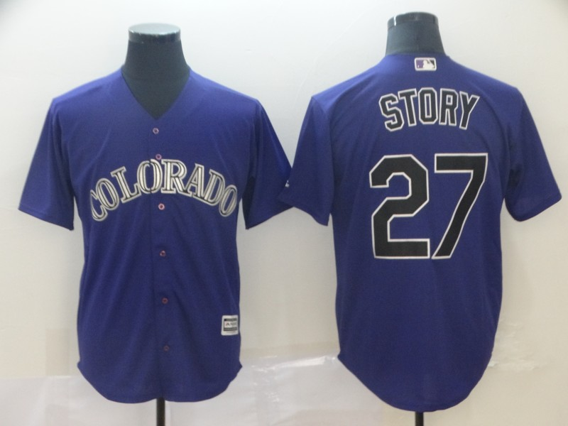 Rockies 27 Trevor Story Purple Cool Base Jersey