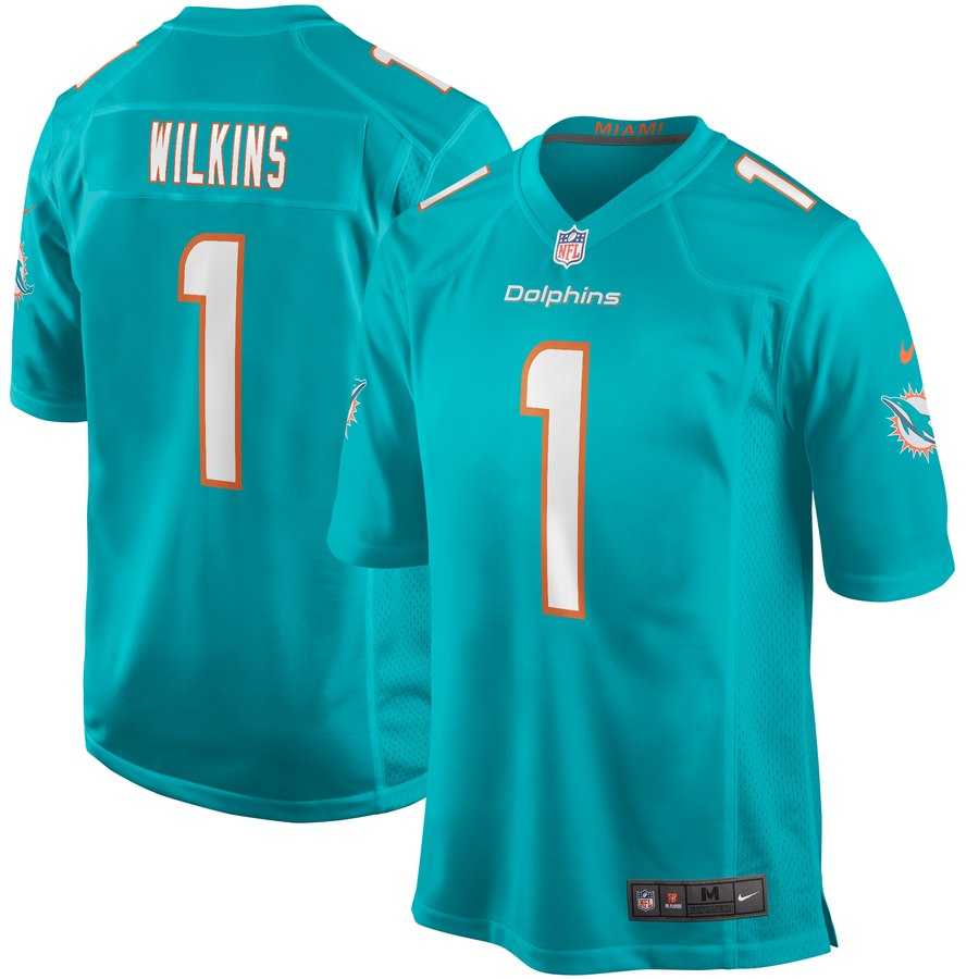 Nike Dolphins 1 Christian Wilkins Aqua 2019 NFL Draft First Round Pick Vapor Untouchable Limited Jersey