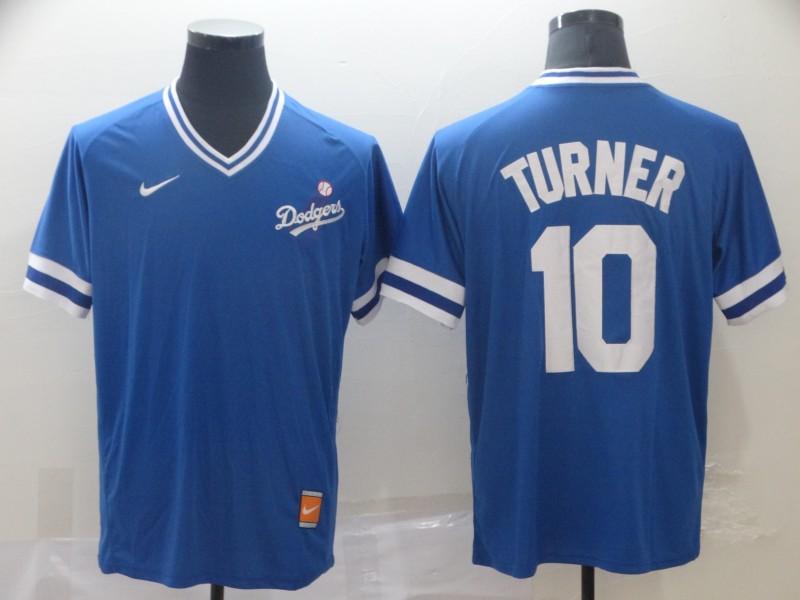 Dodgers 10 Justin Turner Royal Throwback Jersey