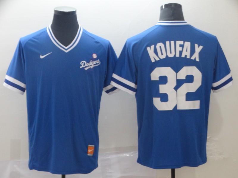 Dodgers 32 Sandy Koufax Blue Throwback Jersey