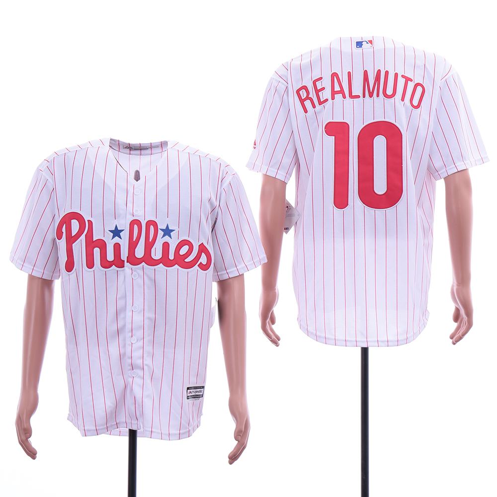 Phillies 10 J.T. Realmuto White Cool Base Jersey