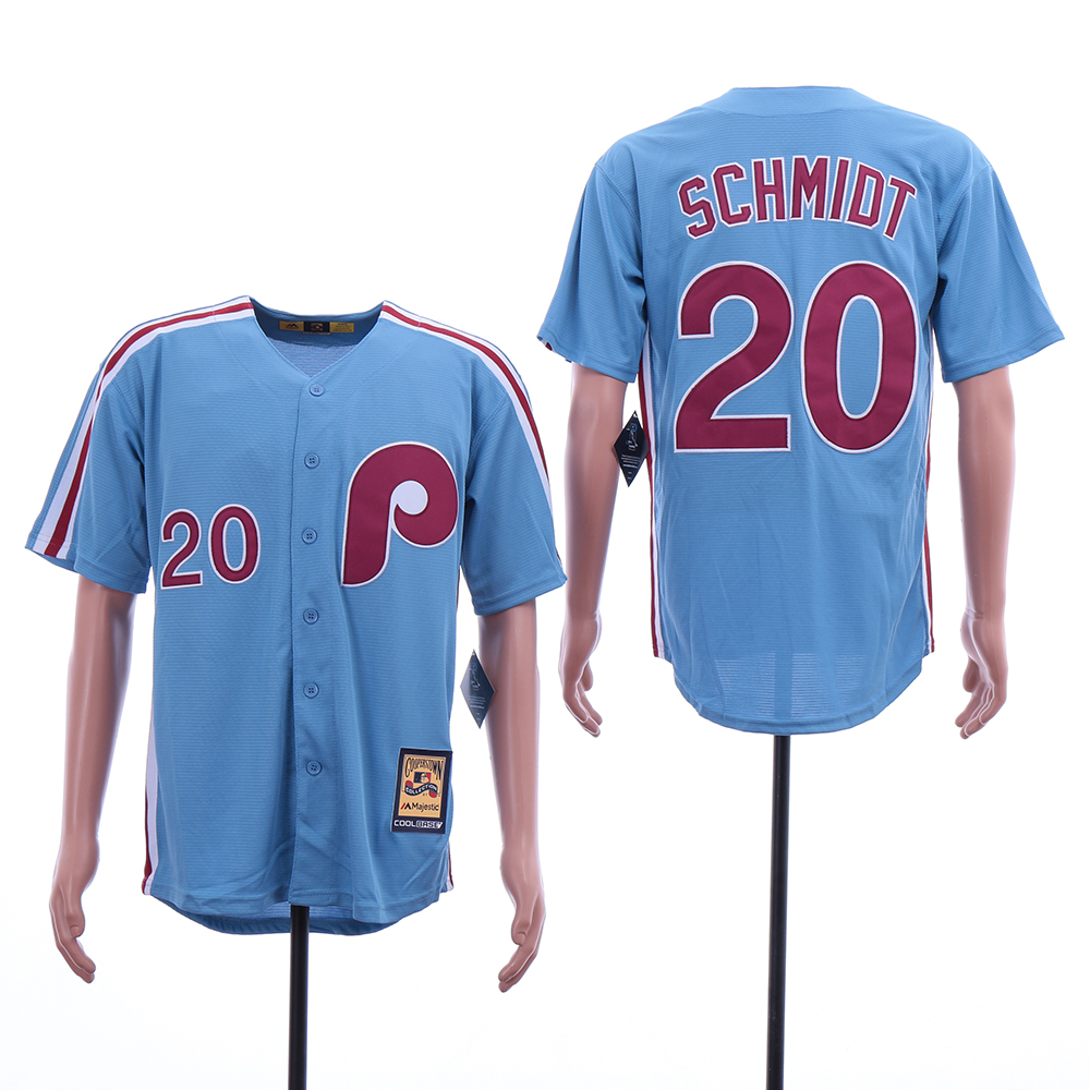 Phillies 20 Mike Schmidt Blue Cooperstown Collection Jersey