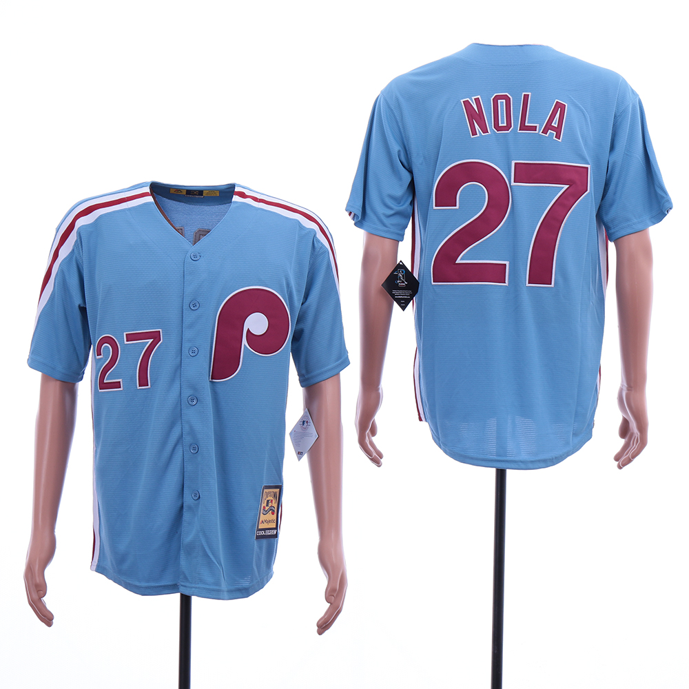 Phillies 27 Aaron Nola Blue Cooperstown Collection Jersey