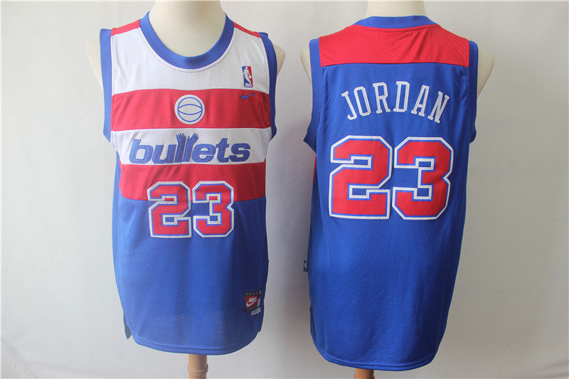 Washington Bullets 23 Michael Jordan Blue Nike College Basketball Jersey