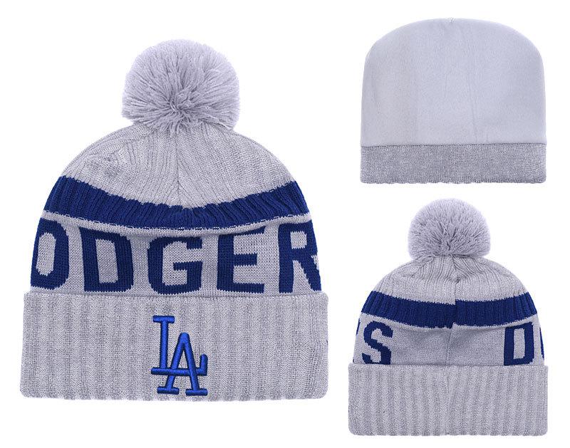 Dodgers Team Logo Gray Cuffed Knit Hat With Pom YD