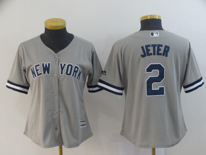 Yankees 2 Derek Jeter Gray Women Cool Base Jersey