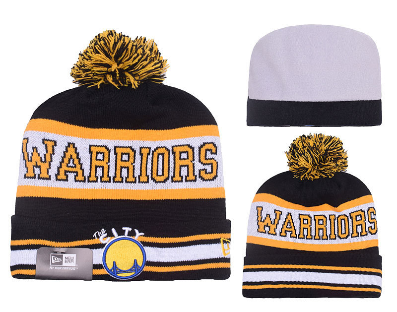 Warriors Fresh Logo Black Pom Knit Hat YD