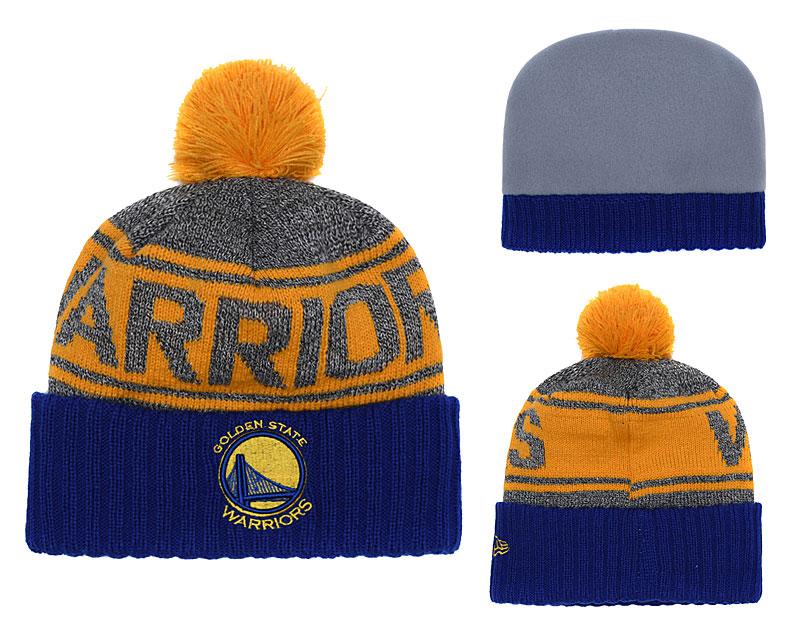 Warriors Fresh Logo Royal Gray Yellow Pom Knit Hat YD