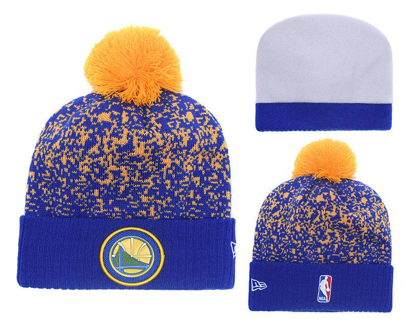 Warriors Fresh Logo Royal Yellow Pom Knit Hats YD