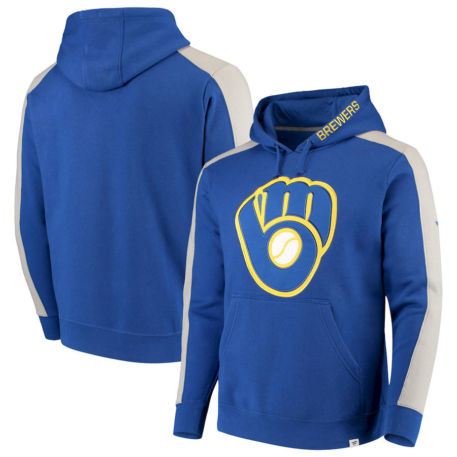 Milwaukee Brewers Fanatics Branded Iconic Fleece Pullover Hoodie Royal & Gray