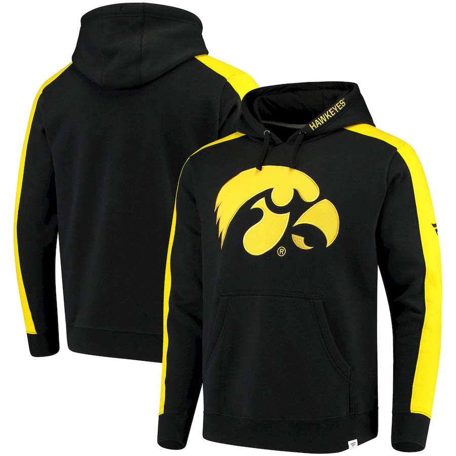 Iowa Hawkeyes Fanatics Branded Iconic Colorblocked Fleece Pullover Hoodie Black
