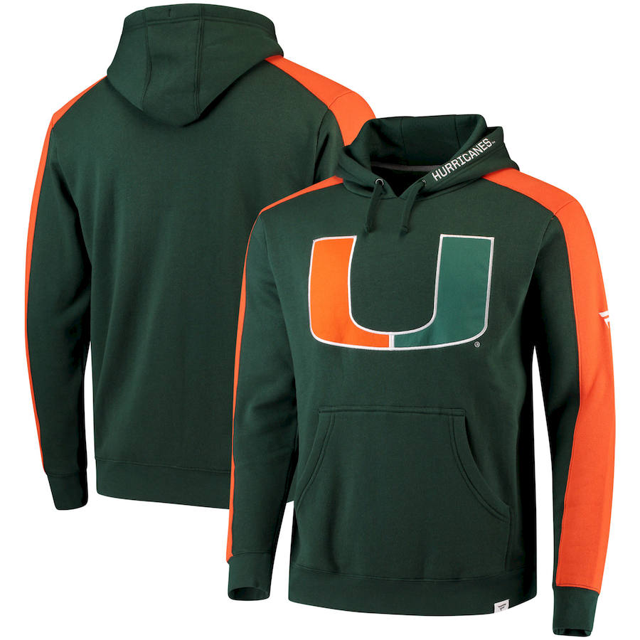 Miami Hurricanes Fanatics Branded Iconic Colorblocked Fleece Pullover Hoodie Green