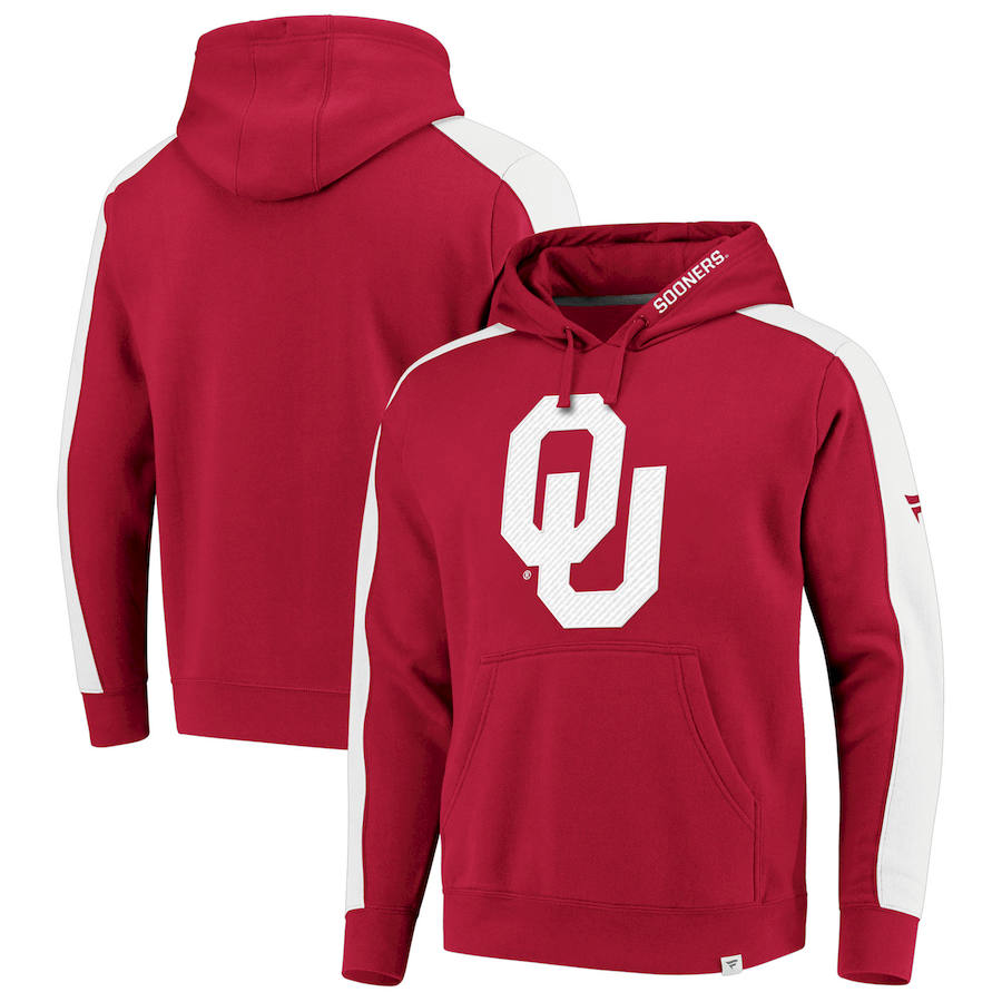 Oklahoma Sooners Fanatics Branded Iconic Colorblocked Fleece Pullover Hoodie Crimson