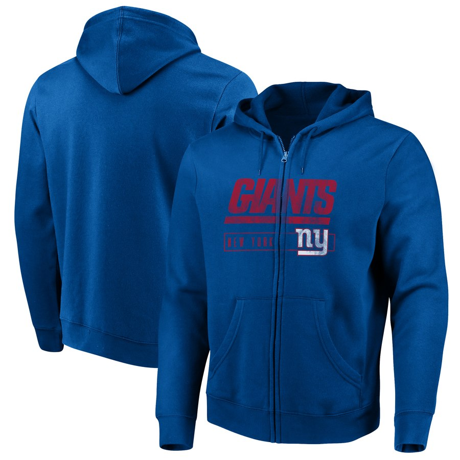 New York Giants Majestic Hyper Stack Full Zip Hoodie Royal