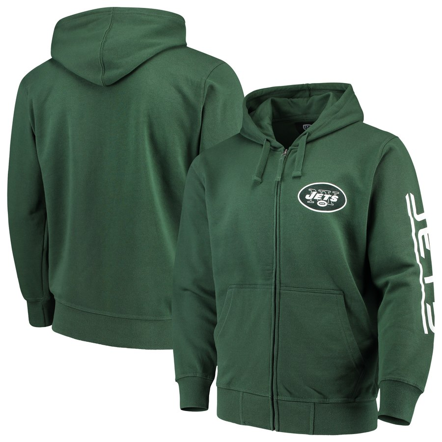 New York Jets G III Sports by Carl Banks Post Route Full Zip Hoodie Green