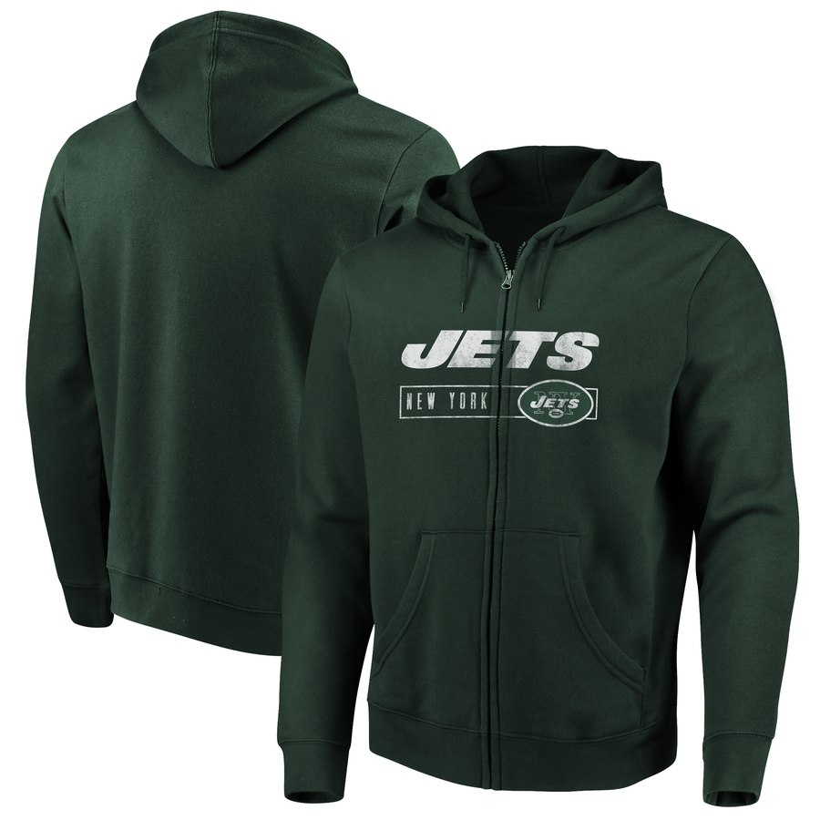 New York Jets Majestic Hyper Stack Full Zip Hoodie Green