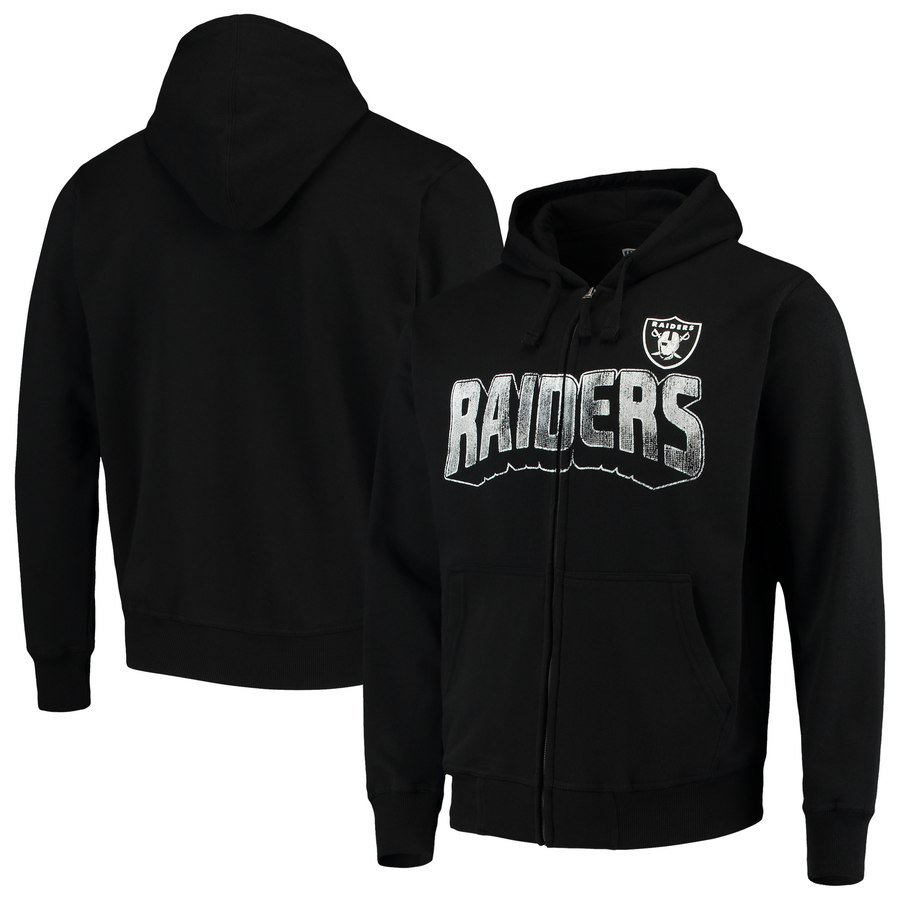 Oakland Raiders G III Sports by Carl Banks Perfect Season Full Zip Hoodie Black