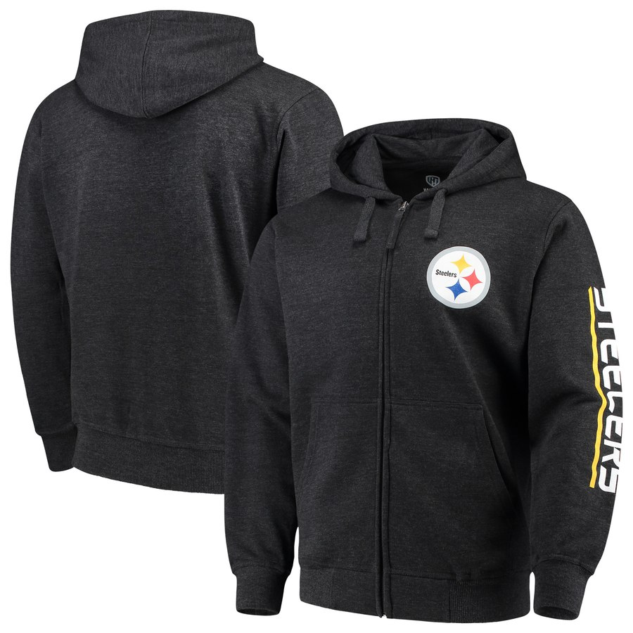 Pittsburgh Steelers G III Sports by Carl Banks Post Route Full Zip Hoodie Charcoal