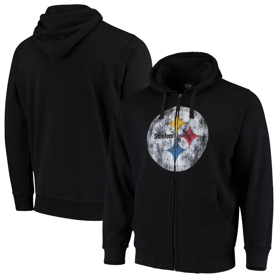 Pittsburgh Steelers G III Sports by Carl Banks Primary Logo Full Zip Hoodie Black