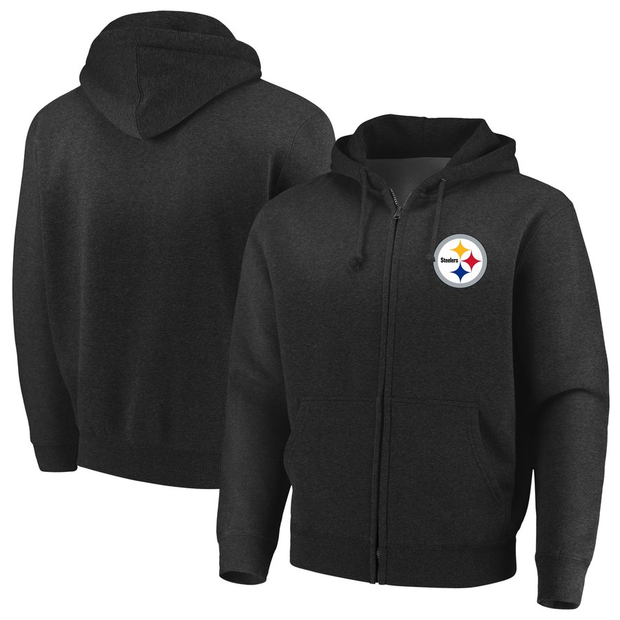 Pittsburgh Steelers Majestic Cap Logo Full Zip Hoodie Black