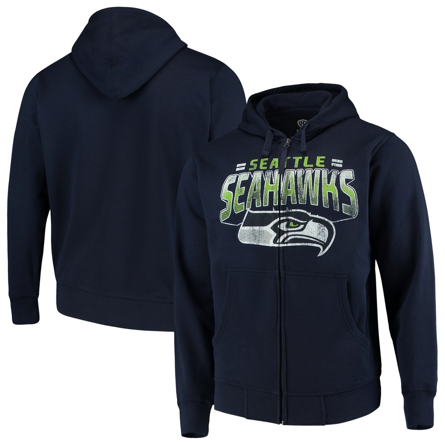 Seattle Seahawks G III Sports by Carl Banks Perfect Season Full Zip Hoodie College Navy