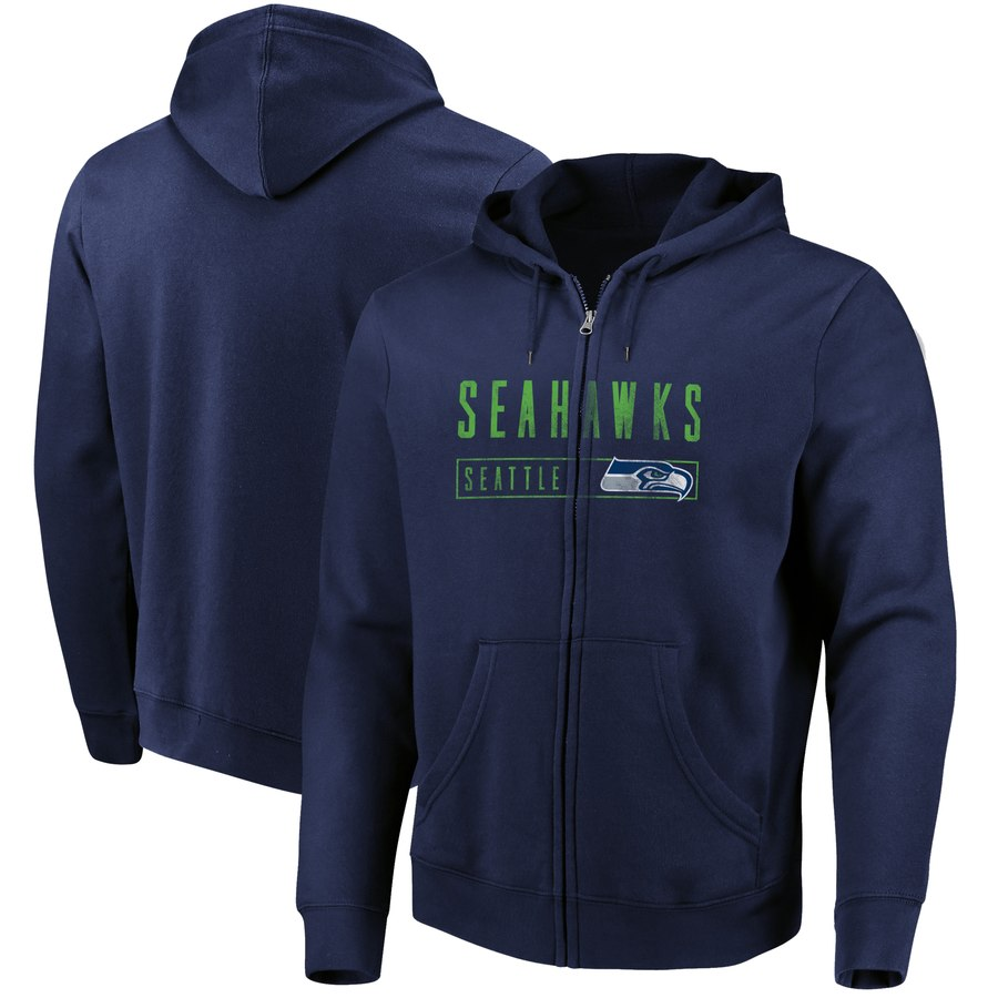 Seattle Seahawks Majestic Hyper Stack Full Zip Hoodie College Navy