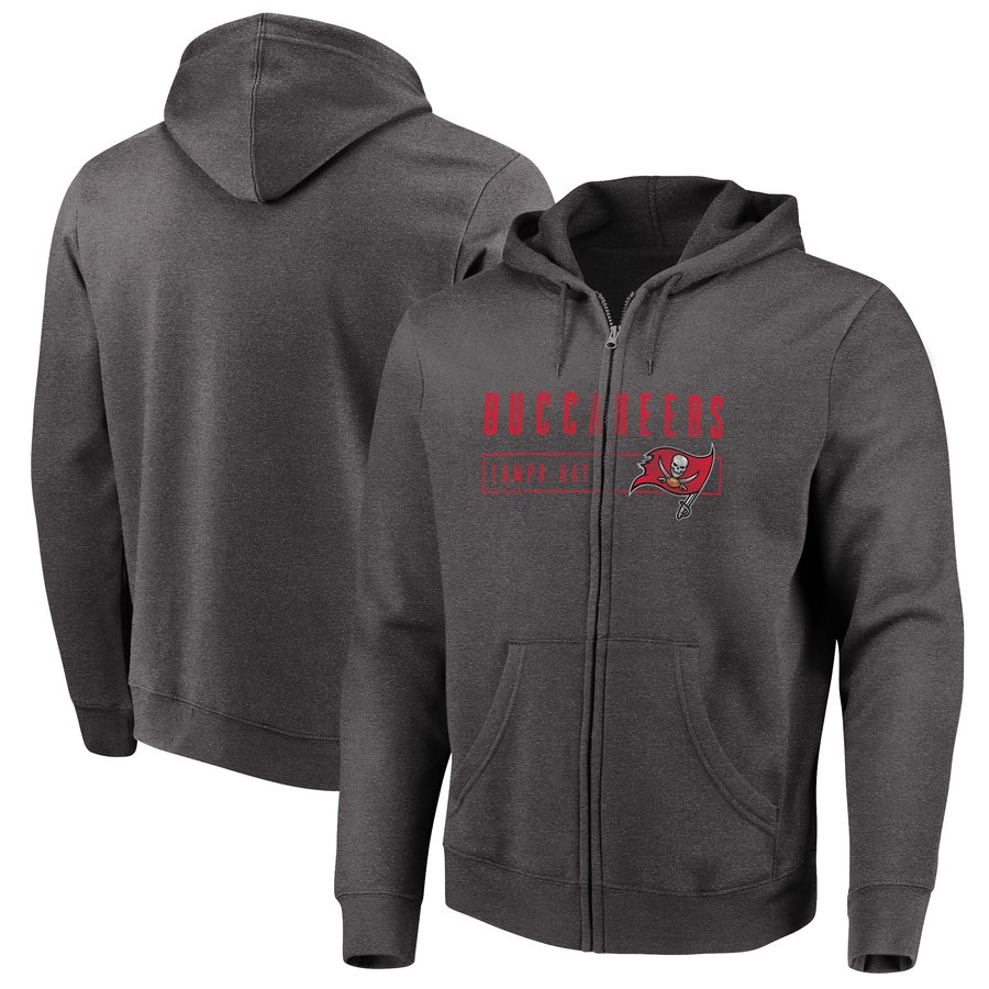 Tampa Bay Buccaneers Majestic Hyper Stack Full Zip Hoodie Heathered Charcoal