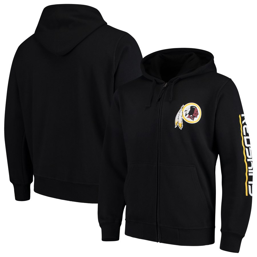 Washington Redskins G III Sports by Carl Banks Post Route Full Zip Hoodie Black