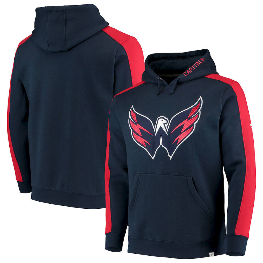 Washington Capitals Fanatics Branded Iconic Blocked Pullover Hoodie Navy & Red