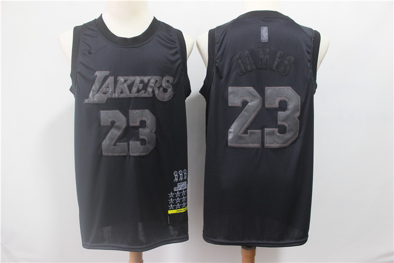 Lakers 23 Lebron James Black Nike Swingman MVP Jersey