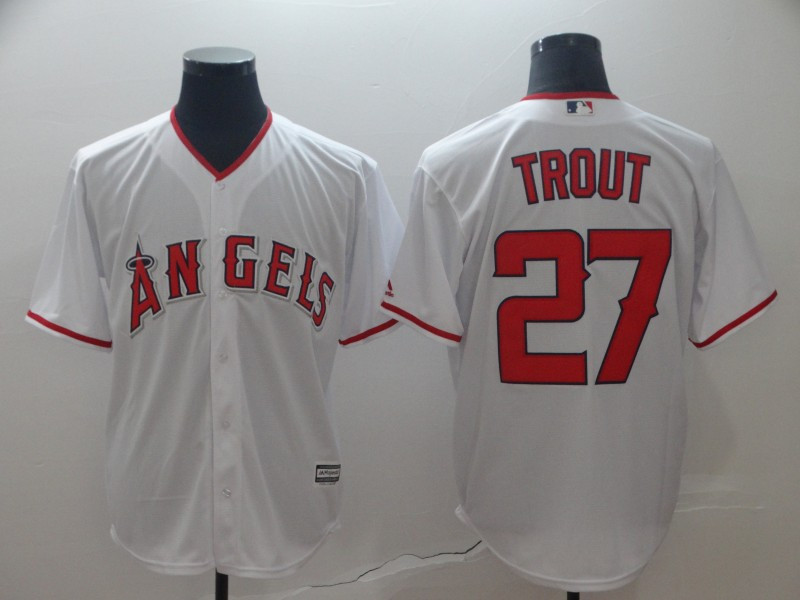 Angels 27 Mike Trout White Cool Base Jersey