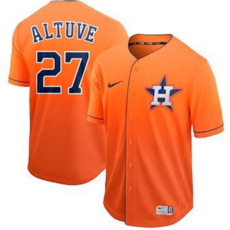 Astros 27 Jose Altuve Orange Drift Fashion Jersey
