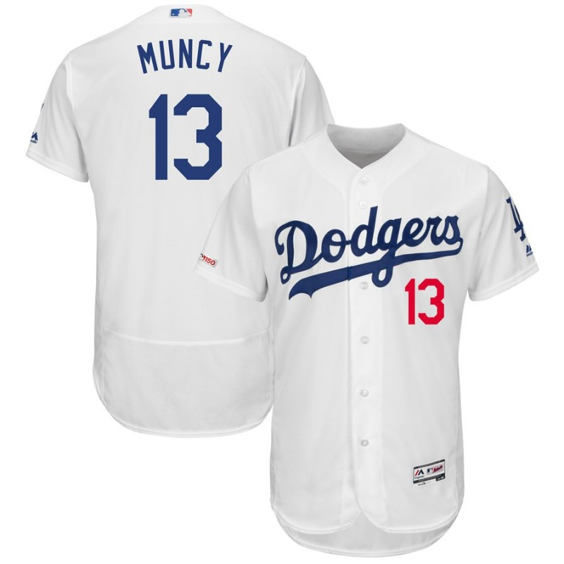 Dodgers 13 Max Muncy White 150th Patch Flexbase Jersey