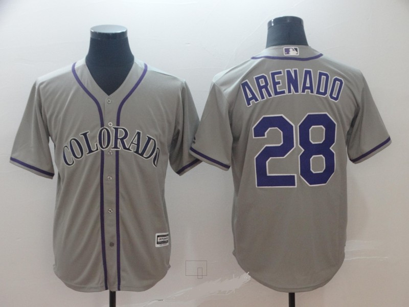 Rockies 28 Nolan Arenado Gray Cool Base Jersey