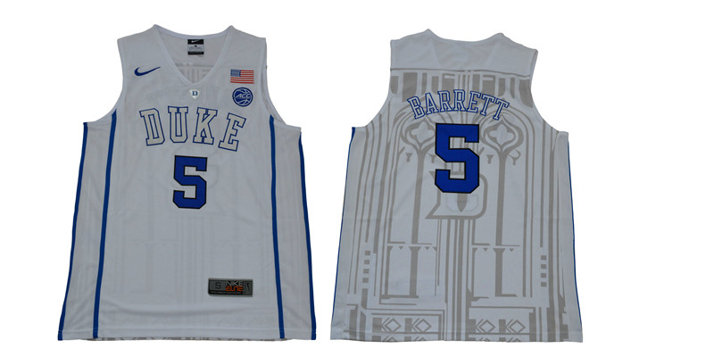 Duke Blue Devils 5 RJ Barrett White Elite Nike College Basketball Jersey
