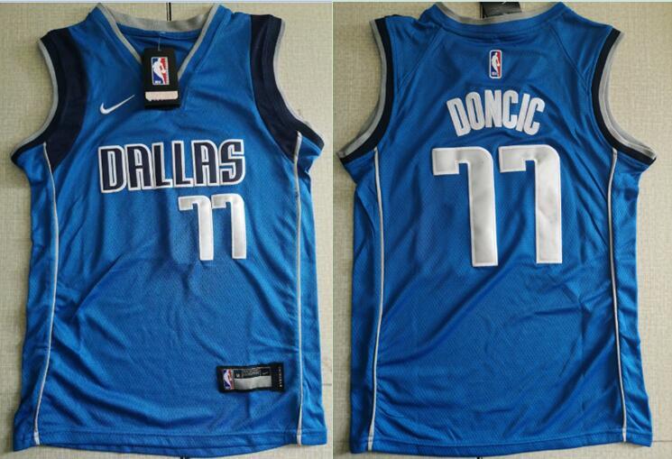 Mavericks 77 Luka Doncic Royal Youth Nike Swingman Jersey