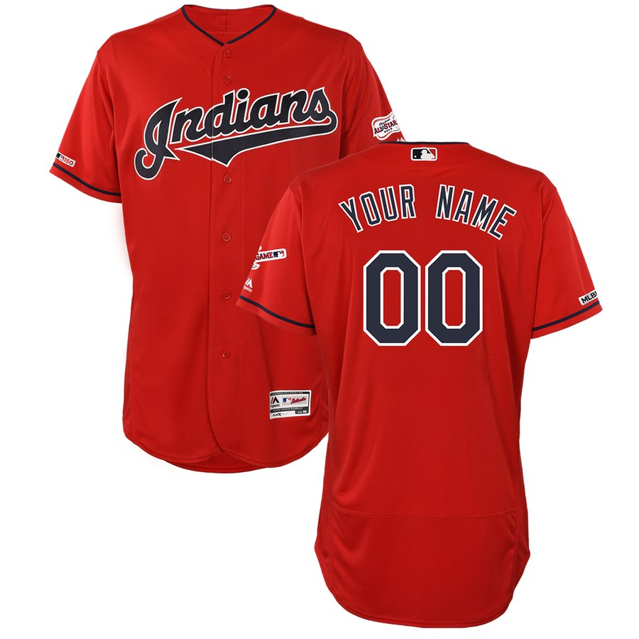 Indians Red Men's Customized 150th Patch Flexbase Jersey